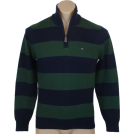 Tommy Hilfiger Maglioni -  Tommy Hilfiger Mens 1/4 Zip Striped Cardigan Logo Sweater Green/Navy