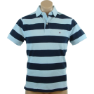 Tommy Hilfiger Shirts -  Tommy Hilfiger Mens Classic Fit Short Sleeve Striped Logo Polo Shirt Blue/Navy