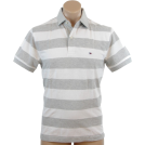 Tommy Hilfiger Shirts -  Tommy Hilfiger Mens Classic Fit Short Sleeve Striped Logo Polo Shirt Gray/White