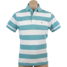Tommy Hilfiger Shirts -  Tommy Hilfiger Mens Classic Fit Short Sleeve Striped Logo Polo Shirt Green/white