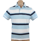 Tommy Hilfiger Shirts -  Tommy Hilfiger Mens Classic Fit Short Sleeve Striped Logo Polo Shirt Light Blue/White/Navy