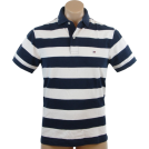 Tommy Hilfiger Shirts -  Tommy Hilfiger Mens Classic Fit Short Sleeve Striped Logo Polo Shirt Navy/White