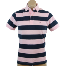 Tommy Hilfiger Shirts -  Tommy Hilfiger Mens Classic Fit Short Sleeve Striped Logo Polo Shirt Pink/Navy