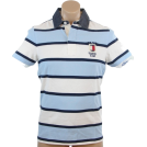 Tommy Hilfiger Shirts -  Tommy Hilfiger Mens Custom Fit Logo Rugby Polo Shirt Light Blue/White/Navy