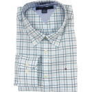 Tommy Hilfiger Shirts -  Tommy Hilfiger Mens Long Sleeve Custom Fit Button Front Shirt White/Blue/Black