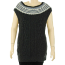 Tommy Hilfiger Tuniche -  Tommy Hilfiger Sweater, Rita Fair Isle Cap Sleeve Tunic Charcoal Heather