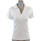 Tommy Hilfiger Shirts -  Tommy Hilfiger Women Classic Fit Buttonless Logo Polo Shirt White