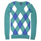 Tommy Hilfiger Pullovers -  Tommy Hilfiger Women Logo V-Neck Sweater Pullover Green/White/Blue