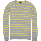 Tommy Hilfiger Pullovers -  Tommy Hilfiger Women V-neck Striped Logo Sweater Pullover Grey/Yellow