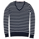 Tommy Hilfiger Pullovers -  Tommy Hilfiger Women V-neck Striped Logo Sweater Pullover Navy/White