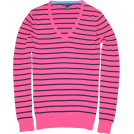 Tommy Hilfiger Pullovers -  Tommy Hilfiger Women V-neck Striped Logo Sweater Pullover Strong pink/navy