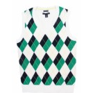 Tommy Hilfiger Vests -  Tommy Hilfiger Womens Pima Cotton Argyle Sweater Vest - White/Navy/Green White/Navy/Green