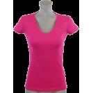 Tommy Hilfiger T-shirts -  Tommy Hilfiger Womens V-Neck Solid Color Logo T-Shirt Magenta