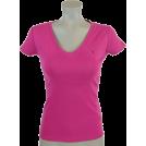 Tommy Hilfiger T-shirts -  Tommy Hilfiger Womens V-Neck Solid Color Logo T-Shirt Pink