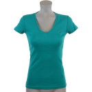 Tommy Hilfiger T-shirts -  Tommy Hilfiger Womens V-Neck Solid Color Logo T-Shirt Teal