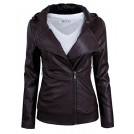 Tom's ware Giacce e capotti -  Tom's Ware Women's Fashionable Asymmetrical Zip-up Faux Leather Jacket