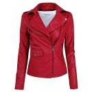 Tom's ware Giacce e capotti -  Tom's Ware Womens Fashionable Asymmetrical Zip-up Faux Leather Jacket