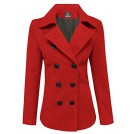 Tom's ware Giacce e capotti -  Tom's Ware Womens Trendy Double Breasted Wool Pea Coat