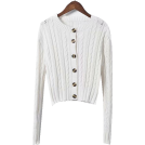 FECLOTHING Cardigan -  Twisted woven hollow long-sleeved sweate