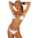 Hot from Hollywood Swimsuit -  Two Piece Crochet Trim Bikini Hot Summer Beach Sexy Low rise Brazilian Bikini Swim Suit White Crochet Trim