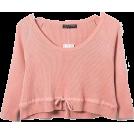 FECLOTHING Long sleeves shirts -  U-neck Drawstring Knit Top T-shirt