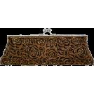 MG Collection Clutch bags -  Unforgettable Vintage Rose Pattern Handmade Beaded Baguette Evening Bag Clutch Handbag Purse w/2 Detachable Chains Brown