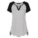 Vinmatto T-shirts -  Vinmatto Women's Short Sleeve V Neck Adjustable Drawstring Sides Shirring Striped Henley Shirts