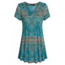 Vinmatto Top -  Vinmatto Women's Short Sleeve V Neck Flowy Casual Tunic Top