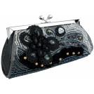 MG Collection Clutch bags -  Vintage Beaded Stones Flower Baguette Clutch Evening Handbag Purse Gray
