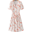 FECLOTHING Dresses -  Vintage Chiffon Floral Front Breasted Sh