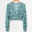 FECLOTHING T-shirts -  Vintage Deep V-neck Short Pleated Waist
