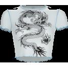 FECLOTHING Shirts -  Vintage Dragon Print Bobble Short Sleeve