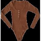 FECLOTHING Fatos -  Vintage Solid Color Chest Button U-Neck