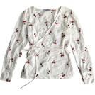 FECLOTHING Shirts -  Vintage V-neck Cherry Embroidered Cross