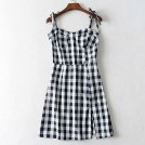 FECLOTHING Dresses -  Vintage chic stitching plaid shoulder kn