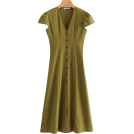 FECLOTHING Dresses -  V-neck A Linen Maxi Dress