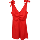 FECLOTHING Dresses -  V-neck backless fold cotton and linen dr