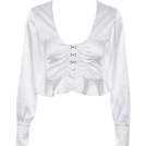 FECLOTHING Long sleeves shirts -  V-neck exposed navel ruffled long-sleeve