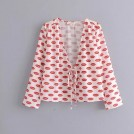 FECLOTHING Shirts -  V-neck long-sleeved lip print front tie