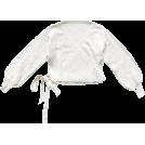 FECLOTHING Pullovers -  V-neck solid color strap short-sleeve kn