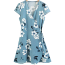 FECLOTHING Dresses -  V-neck strap wrap print dress