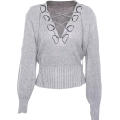 FECLOTHING Jacket - coats -  V-neck tie with lantern sleeves sweater
