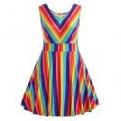 Willtoo Dresses -  WILLTOO Women's Vintage Dress Mini Gown Rainbow Sleeveless A-Line Dress Plus Size