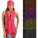 Hot from Hollywood Cachecol -  Warm Cozy Crotchet Knit Design Matching Scarf and Hat Winter Style Set Pink