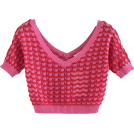 FECLOTHING Bolero -  Wavy V-neck colorblock openwork sweater