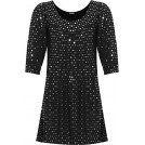 WearAll Shirts -  WearAll Women's Plus Long Sleeve Sequin Spot Party Top Polka Dot Scoop Neck