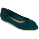 whisper Loafers -  Wide Fit Green Suedette Knot Bow Pumps