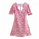 FECLOTHING Dresses -  Wild V-neck Puff Sleeve Cherry Printed H