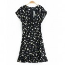 FECLOTHING Dresses -  Wild V-neck short-sleeved ruffled floral