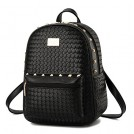 H.Tavel Bag -  Woman's Woven Spikes Leather Mini School Travel Daypack Satchel Wallet